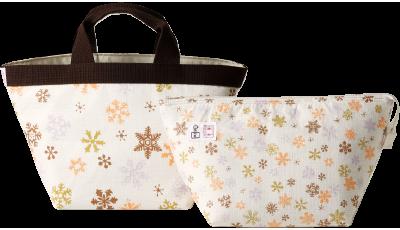 京友禅工房「岡重」とのコラボレーション。保冷バッグ付きのトートバッグ。